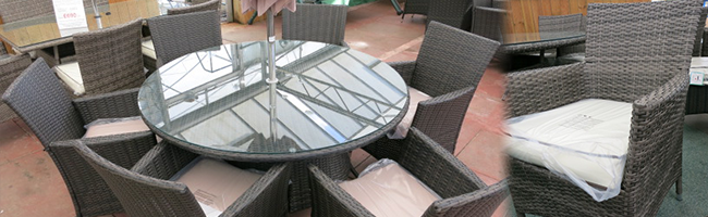 Six Seater Round Rattan Weave Wicker Dining Set